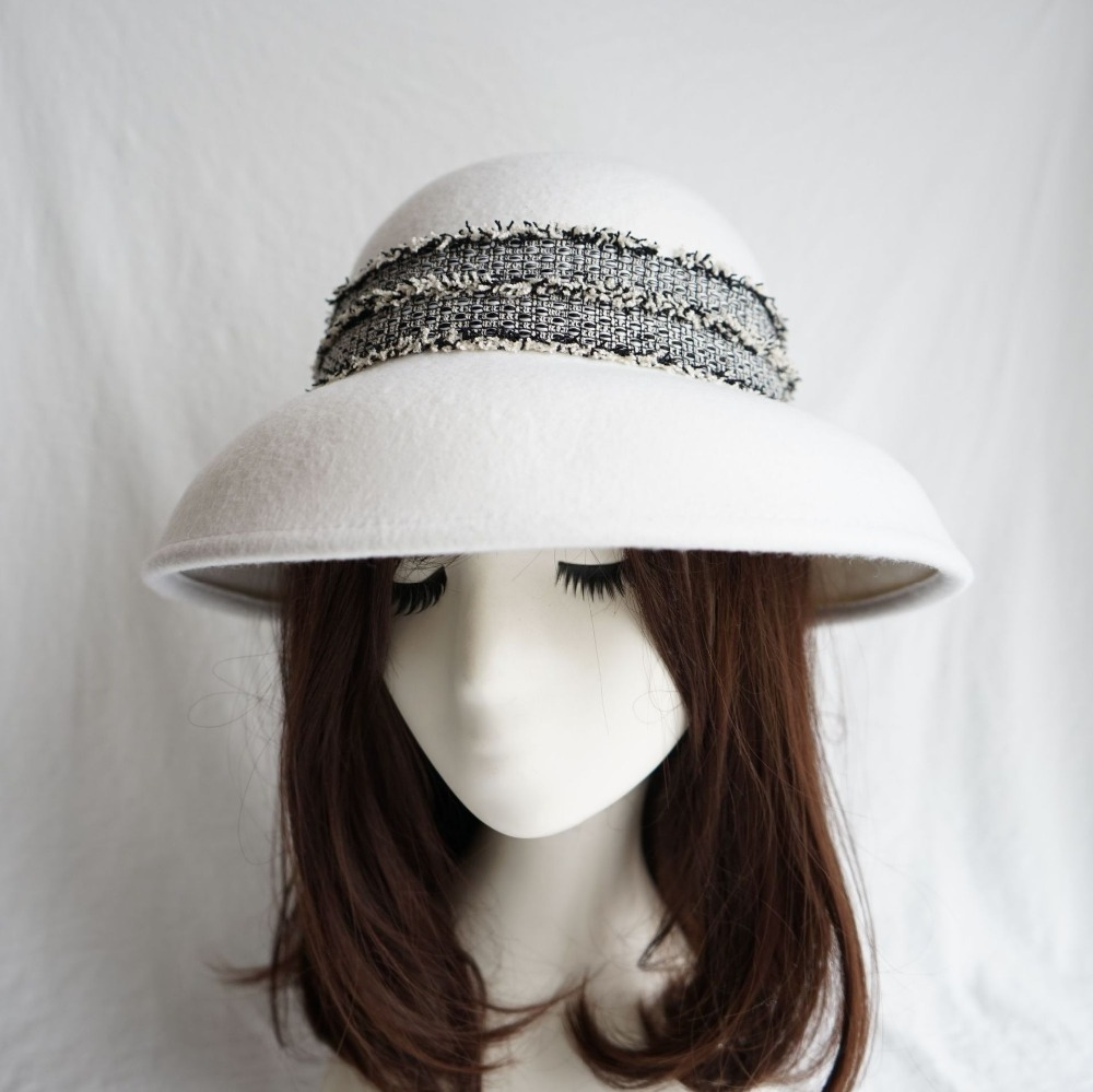 01812-panshi % Wolle Weiß Band Eleganz Freizeit Dame Eimer Kappe Frauen Abendessen Hut Taille Und Sehnen StäRken