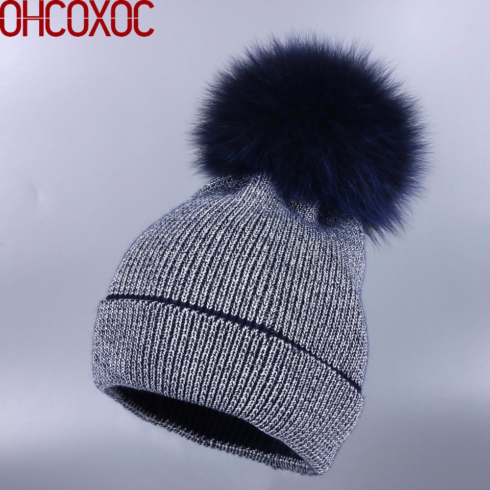 OHCOXOC New Women   Beanies   Real Fox Fur Pom Poms Ball Cap Keep Warm   Beanies     Skullies   Autumn woman fashion Cashmere Winter Hat