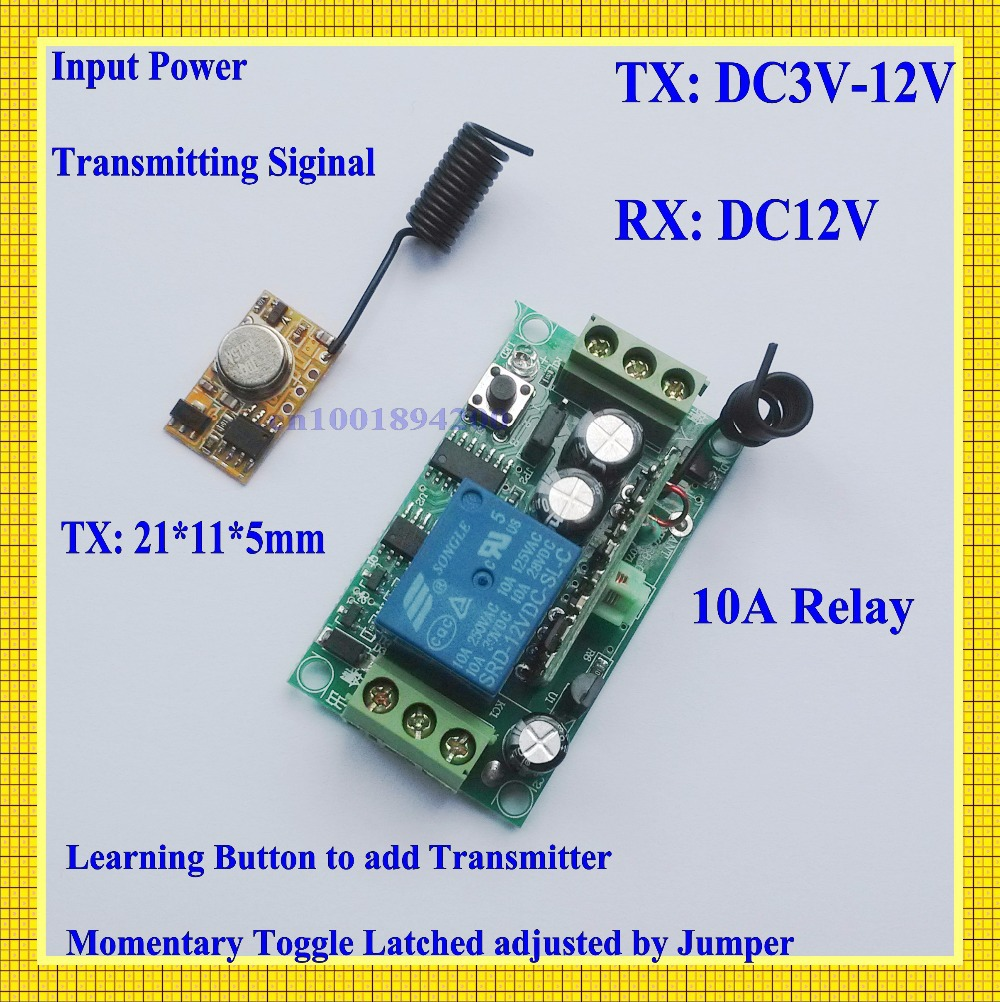 Encoding Transmitter Module PCB + 12V DC Receiver RF 3V 3.7V 4.5V 5V 6V 9V 12V Transmitter Receiver Remote Control Switch315/433 dc 3 5v 12v mini relay 2 receiver