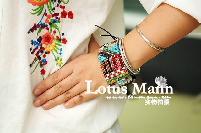 latest Lotusmann style colorful handmade bracelet with silver engraved button Wrap Bracelet on Leather