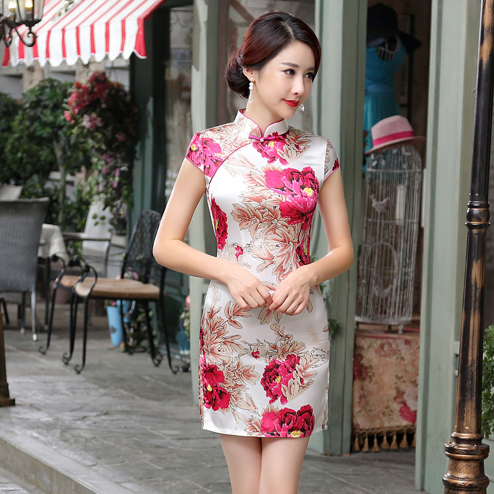 aa6d3ebb651 Summer Stylish Mini Cheongsam Chinese Ladies Elegant Slim Satin Qipao  Novelty Dress Vestidos Size S M L XL XXL LGD64