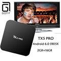 2016 Hot TX5 Pro Quad Core 2 GB 16 GB Android 6.0 Smart TV CAIXA Amlogic S905X Set top box Totalmente KODI 16.1 Dupla Wifi Mídia jogador