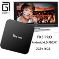2016 Hot TX5 Pro Quad Core 2 GB 16 GB Android 6.0 Smart TV CAJA Amlogic S905X decodificador Totalmente KODI 16.1 Dual Wifi Media jugador