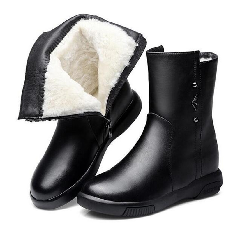 2018 bestselling new fashion Real cowhide leather boots flat Warm comfort wool shoes women boots snow boots winter Martin boots