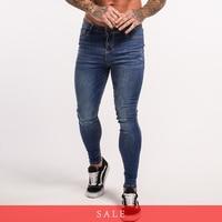 Gingtto Slim Fit Skinny Denim For Big Guys Jeans Men Stretch Waist Hip Hop Blue Trousers