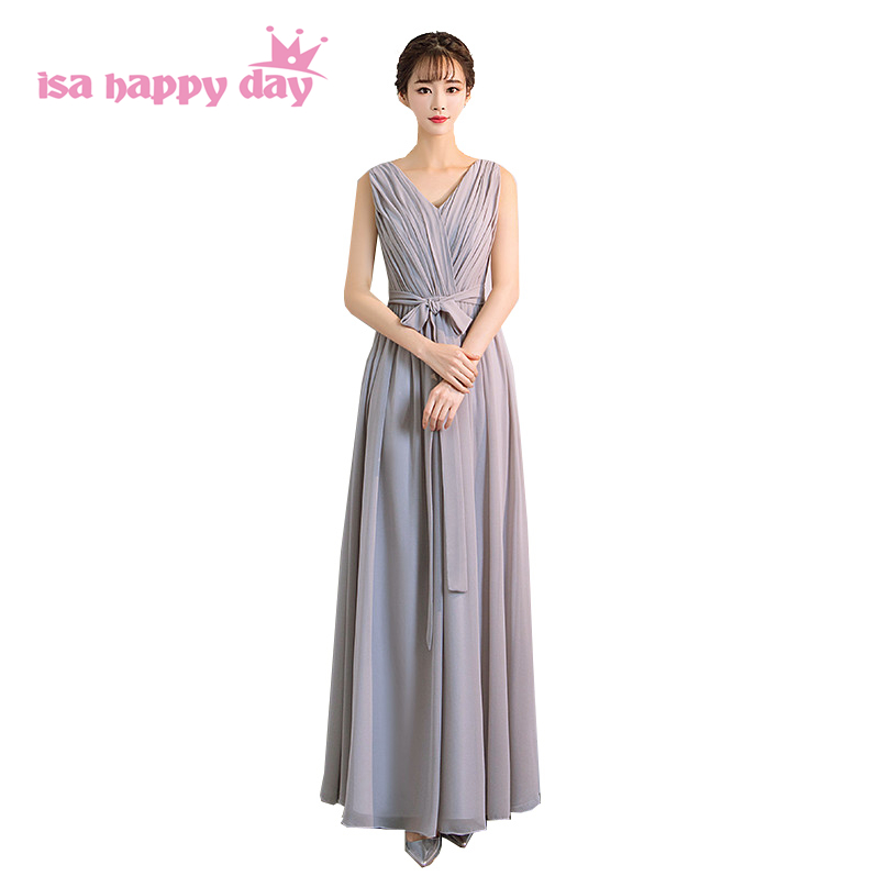 engagement long beautiful dress size 6 gray chiffon gown bridal gown v neck dresses bridemaid dresses for ladies H4192