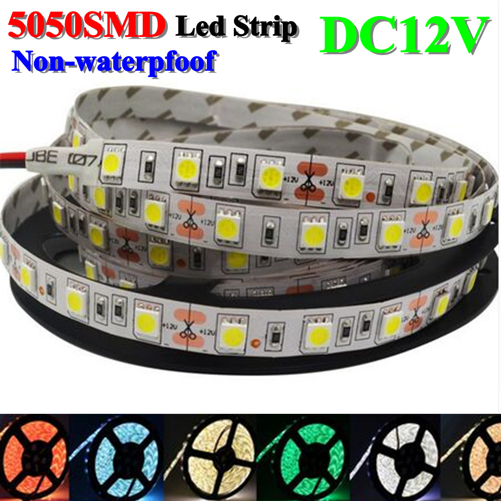 5m / lote 300LED 5050LED luz de tira, 12V, RGB / blanco / blanco - Iluminación LED