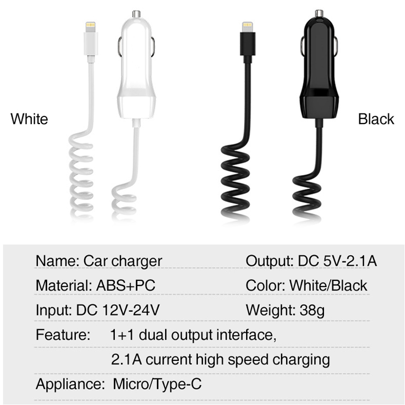 5V 2 1A Auto Fast Charging Car Charger USB Car Charger For Android Ios Phone With Retractable Micro Type C USB Cable in Cables Adapters Sockets from Automobiles Motorcycles
