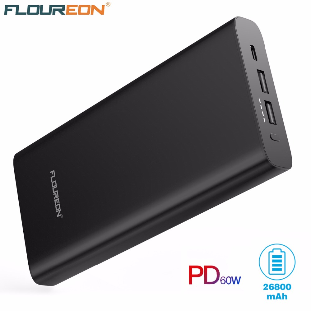 Flouren Power Bank 26800mAh USB Type C PD Quick Charger for iPhone XS Max XR 8 Samsung S9 HUAWEI Mate 20 Laptops