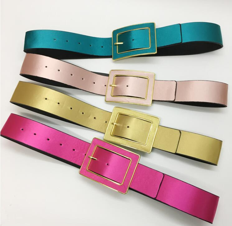 Women's Runway Fashion PU Leather Cummerbunds Female Dress Corsets Waistband Belts Decoration Wide Belt R1540