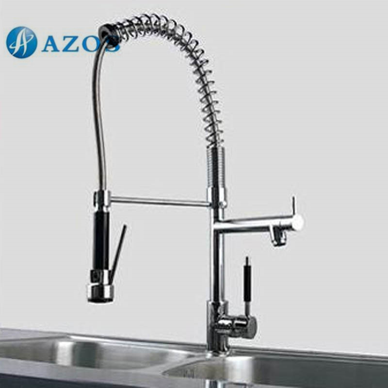 AZOS Kitchen Sink Faucet Brass Spring Pull Down Spout Single Hole Deck Mount Chrome Polish Hot Cold Mixer CFDH006AZOS Kitchen Sink Faucet Brass Spring Pull Down Spout Single Hole Deck Mount Chrome Polish Hot Cold Mixer CFDH006