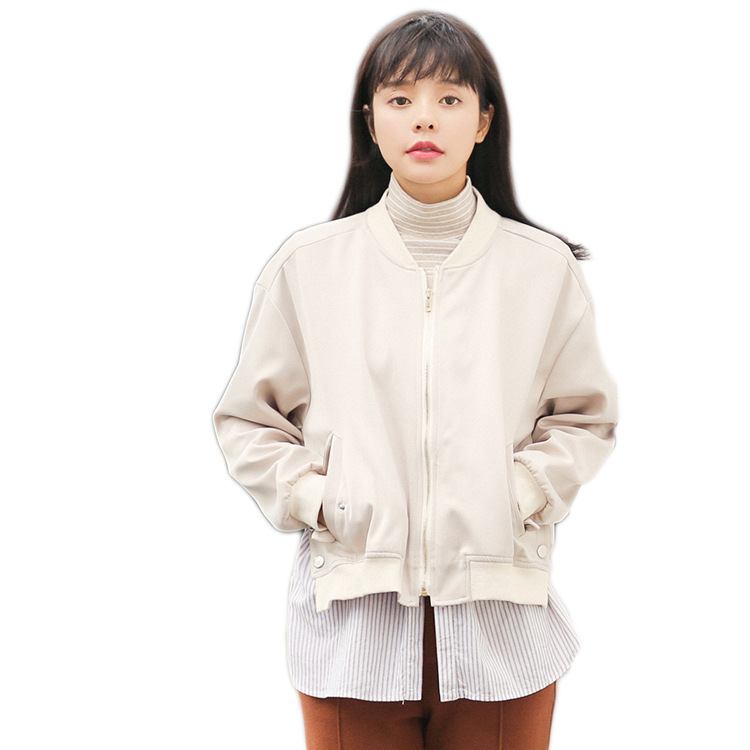 Casaco feminino 2018 Весна Новая модель корейской школы ветер кратким легко Ложные две Бумага пальто свободного кроя школьница Бейсбол служить