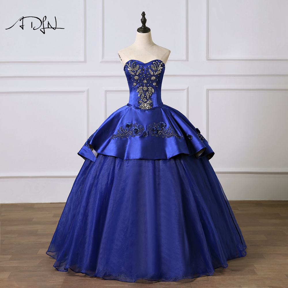 ADLN Gorgeous Royal Blue Quinceanera Dresses Custom Made Sweetheart Satin Corset Masquerade Debutante Gown  Sweet 15 Dress