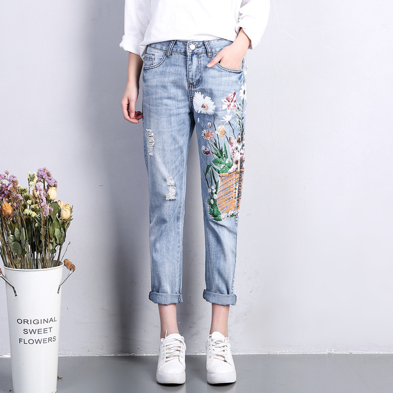 Summer Casual Pants Women Denim Jeans Cat Flower Printing Hole Straight Ripped Jeans For Women Haren Jeans Femme Trousers C3171 flower embroidery jeans female blue casual pants capris 2017 spring summer pockets straight jeans women bottom a46