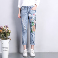 Summer Casual Pants Women Denim Jeans Cat Flower Printing Hole Straight Ripped Jeans For Women Haren Jeans Femme Trousers C3171