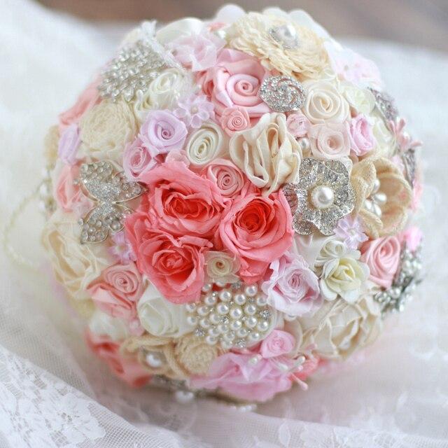 8 дюймов Коралловый розовый и цвета слоновой кости свадебные брошь букет, свадьба Невесты Горный Хрусталь Ювелирные Изделия Увековечены Роуз Перл Букеты декор