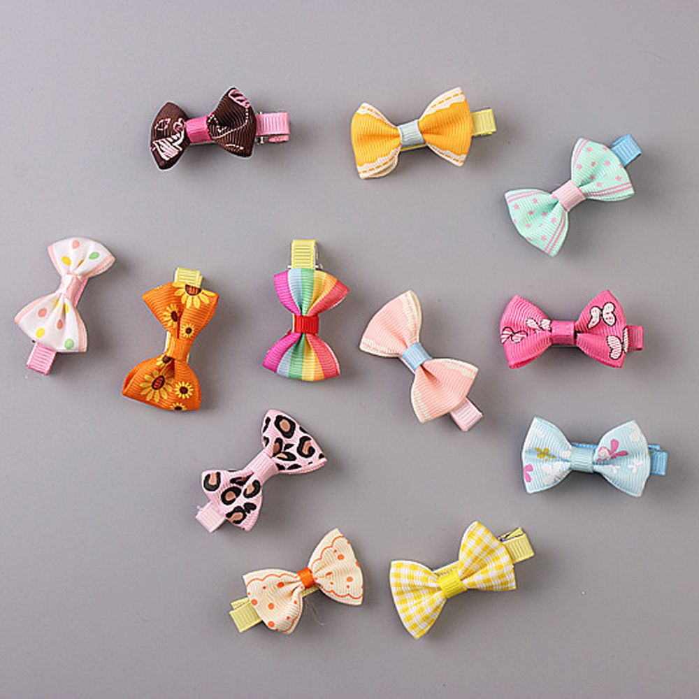 5pcs Color Random Dog Kitten Puppy Cute Pet Grooming Floral Solid Cotton Bow Flower Hairpins Butterfly Hair Clips Hair Barrette #2