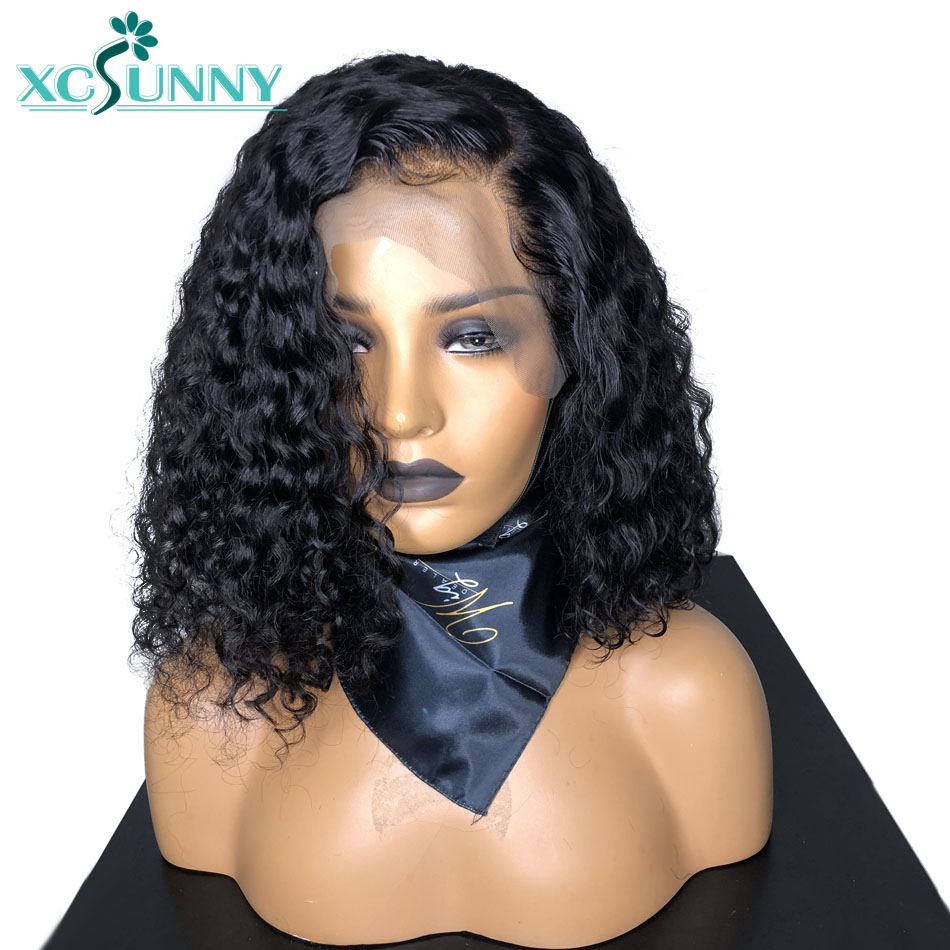 Curly Lace Front Human Hair Wig 13x6 Deep Parting Short Bob Wigs For Women Brazilian Remy Hair Pre Plucked Xcsunny