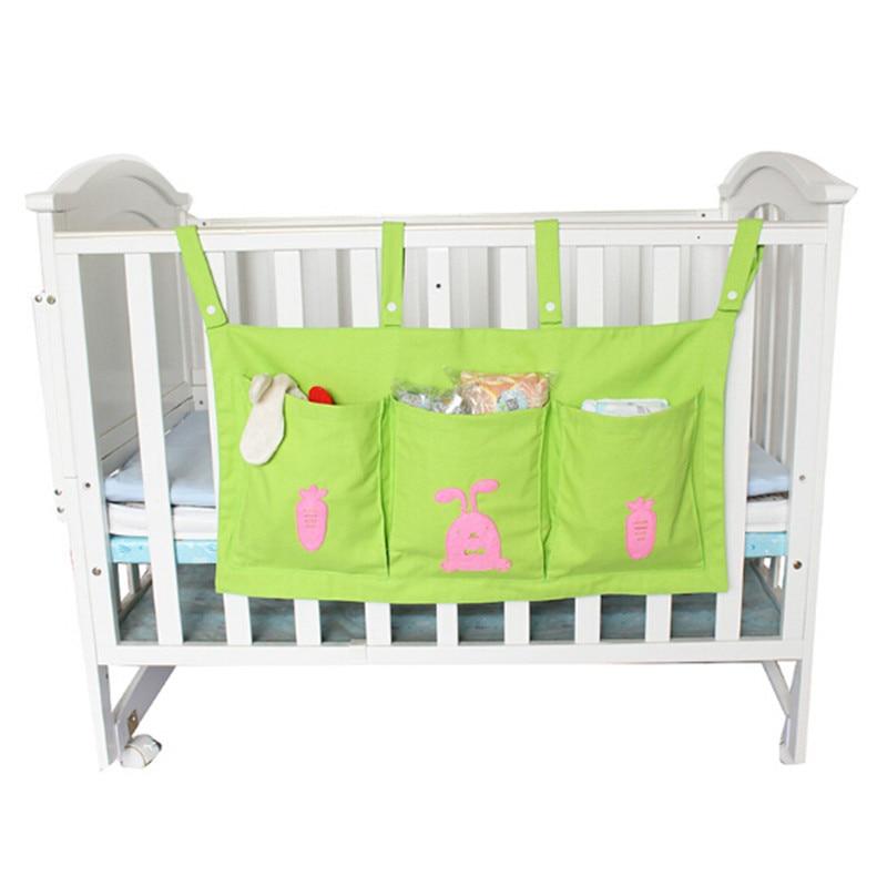 1 Stück Baby Bett Hängen Lagerung Tasche Leinwand Neugeborenen Krippe Organizer Spielzeug Windel Tasche Bettwäsche Set Zubehör