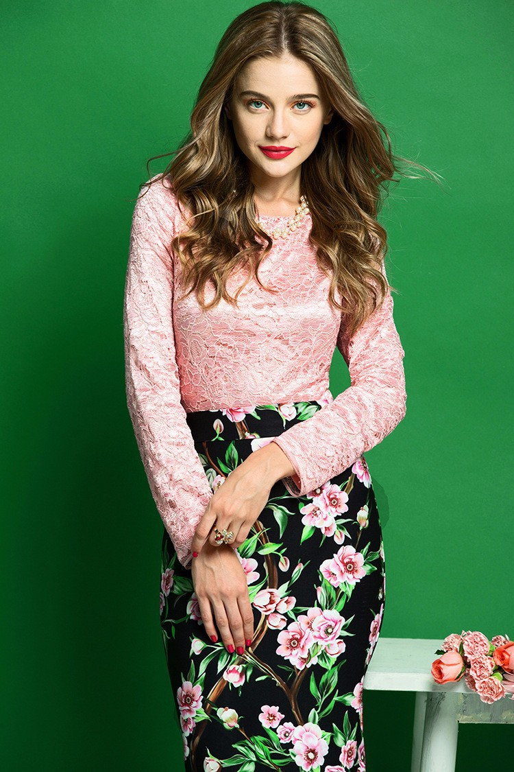 Elegant Women Skirt Suits Long Sleeve Lace Blouse and Floral Print Slim Fit Pencil Skirt Women Business Work Wear (1)