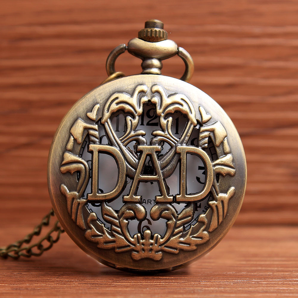 Bronze Pocket Watches Hollow DAD Letters Quartz Steampunk Watch Pendant Necklace Chain Father Day Christmas Day Mens Best Gifts