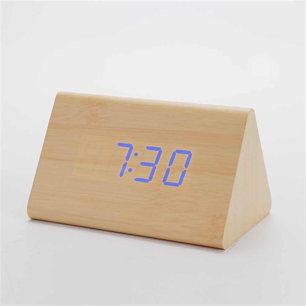 Креативный Деревянный Будильник Настольные Цифровые Часы Звуковое управление Повтор бамбуковый светодиодный термометр домашний декор уникальный подарок