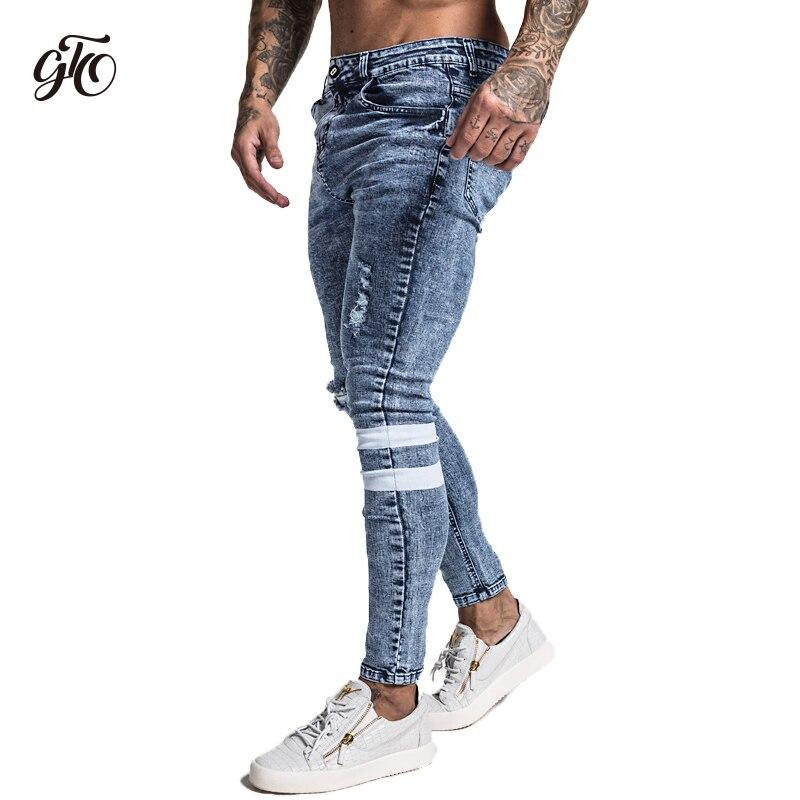 Gingtto 2019 Новый Для мужчин обтягивающие джинсы облегающие скини эластичные синие джинсы больших размеров хлопковый легкий Comfy Хип-хоп белая л...