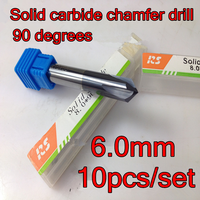 10pcs set 6 0mm 90 degrees 50mm 4 flutes Solid carbide chamfer drill Chamfering cutter Countersink
