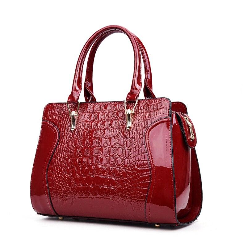 Imbettuy Брендовые женские сумки лакированной кожи сумка женский классический Аллигатор печать сумки на ремне дамские сумочки Ba