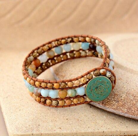 Cuff Bracelet Unique Stones Ite Leather Wrap Bracelets Handmade Bohemian Woven Women Jewelry Dropshipping In From