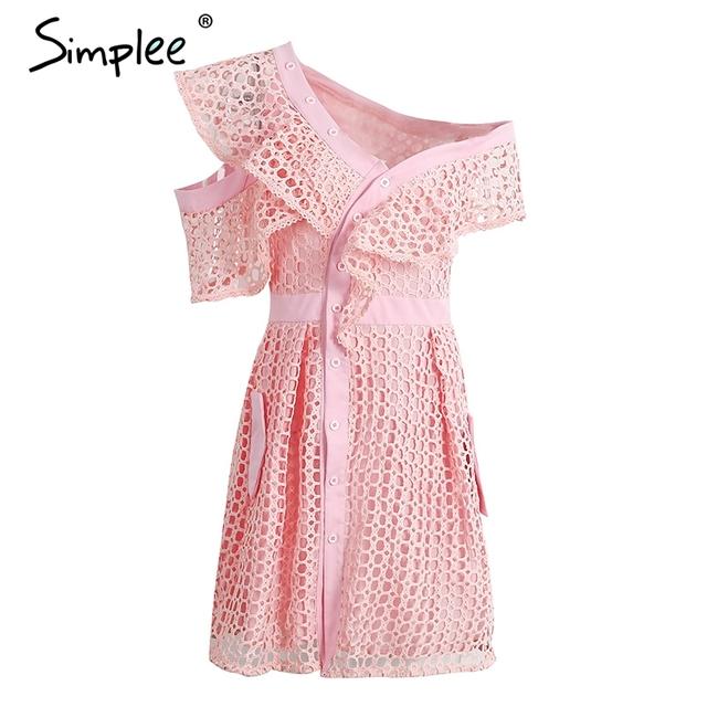 Simplee Elegant hollow out lace dress Lined asymmetrical v neck summer dress Women short dress shirt vestido de festa 2017 new