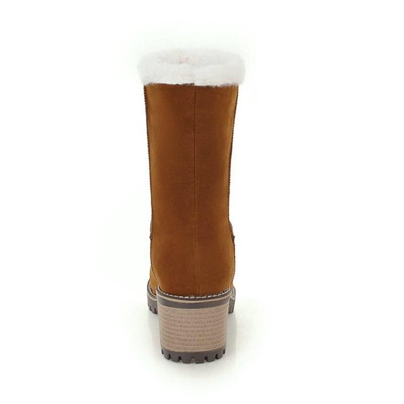 Mantener Tamaño Partido Para Nieve Casual Med Botas Tobillo 43 Moda 5 Cm Caliente Dulce 34 Mujeres marrón De Zapatos Heel En Invierno 2019 Negro Gran 0w8RW