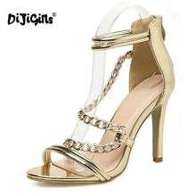 c2e58266a8a Dijigirls Correntes de Ouro Sapatos de Verão Sandálias de Salto Alto Sexy  Moda Abrir Toe Bombas Recortes Zapatos Mujer Sapatos d.