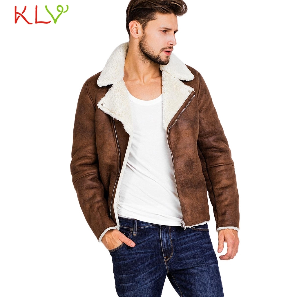 men winter jacket warm fur leather zipper coat casual long. Black Bedroom Furniture Sets. Home Design Ideas