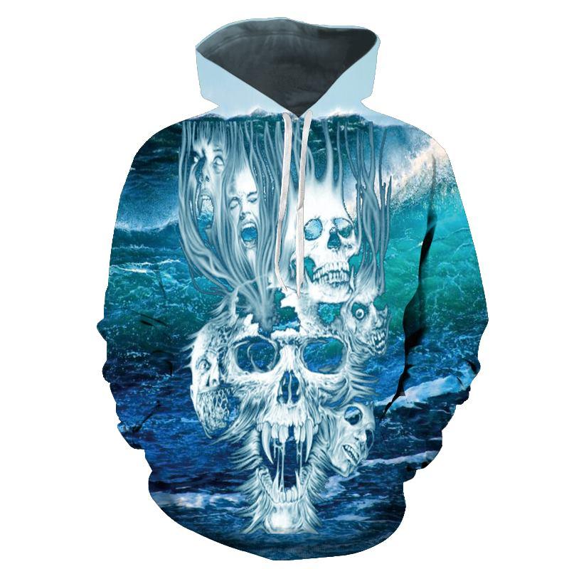 Skull 3D Printed Hoodies Men Women Sweatshirts Hooded Pullover Brand  Qaulity Tracksuits Boy Coats Fashion Outwear New