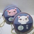 Moda redondo lindo de las mujeres mini bolso de tela de mezclilla azul pequeño gato patck tela cruzada cuerpo bolsa de hombro del paño de la muchacha bolsa