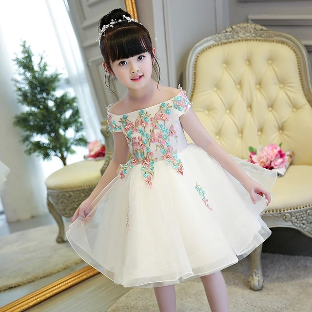 02a9a584070 2019 New Girls Baby Embroidery Flowers Birthday Wedding Ball Gown Dress  Children Kids TuTu Short Dress Costume Pageant Dresses