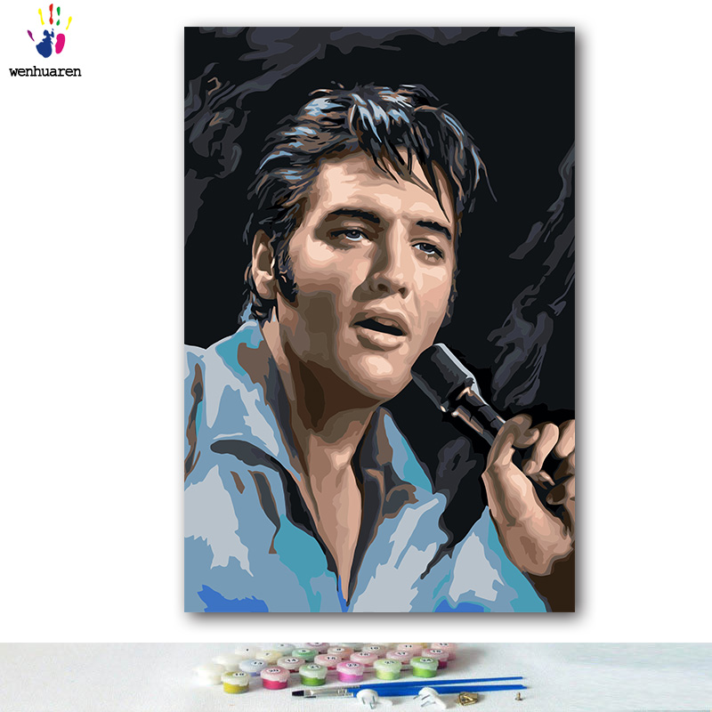 Diy Painting By Numbers Figure Music Star Elvis Presley Pictures Paint By Numbers With Kits Tools For Adults On Canvas