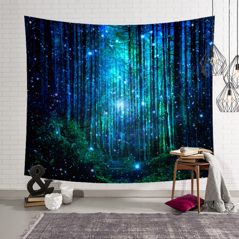 1PC Forest Scenery Spring Tapestry Wall Hanging Cherry Blossoms Beautiful Camping Yoga Mat Sandy Beach Picnic Throw Rug