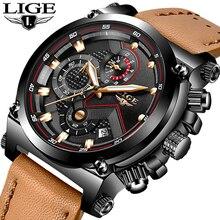 Reloj Masculino para hombre, cronógrafo de cuarzo, informal, de cuero, esfera grande, militar, deportivo, resistente al agua