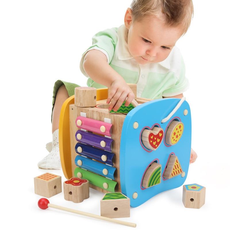 Multi-fonction forme boîte jouet contient Xylophone Abacus assemblage blocs de construction bébé début de la tête formation Montessori jouets - 2