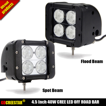 4.5 INCH 40W LED WORK LIGHT BAR Dual Row Led Driving light bar FOR TRUCKS 4WD BMW 4X4 OFFROAD SPOT Flood BEAM 10W LEDS CHIP x1pc