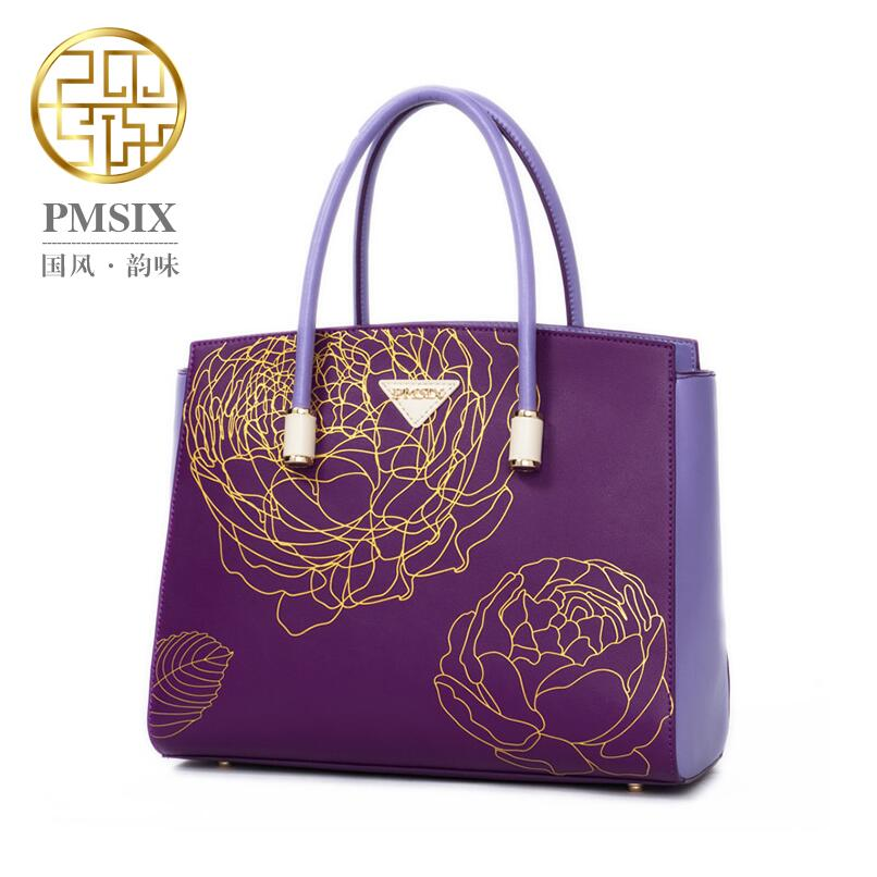 Women genuine leather bag brands quality fashion chinese wind printing Purple cowhide women handbags shoulder messenger bag