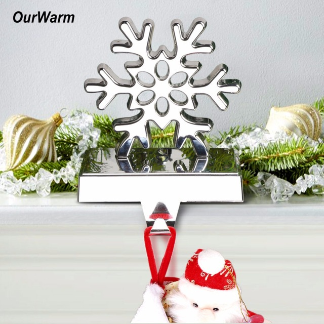 ourwarm 3d christmas stocking holder stand snowflake metal xmas stocking hanger for mantel new year gift