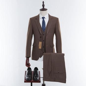 Wool Brown Tweed Custom Made Men Prom Suit Blazers Retro Tailor Made Slim Fit Wedding Suits