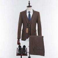 Wuzhiyi шерсть коричневый твид индивидуальный заказ для мужчин Выпускной костюм пиджаки для женщин Ретро индивидуальный заказ Slim Fit