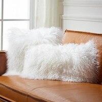 Single side Mongolian sheep skin fur seat pillow cushion, genuine natural curly Tibet sheep fur decoration sofa pillow