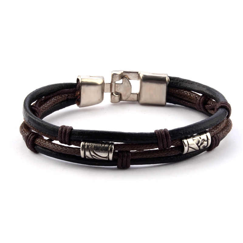 New Causul  Handmade  Rope Woven Men  Charm Leather Bracelets For Women Homme Fashion Jewelry Accessories
