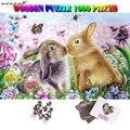 MOMEMO кролик головоломки 1000 шт. взрослые рисунки по дереву Пазлы игрушки 1000 шт. Взрослые Дети Подростки головоломки игры игрушки