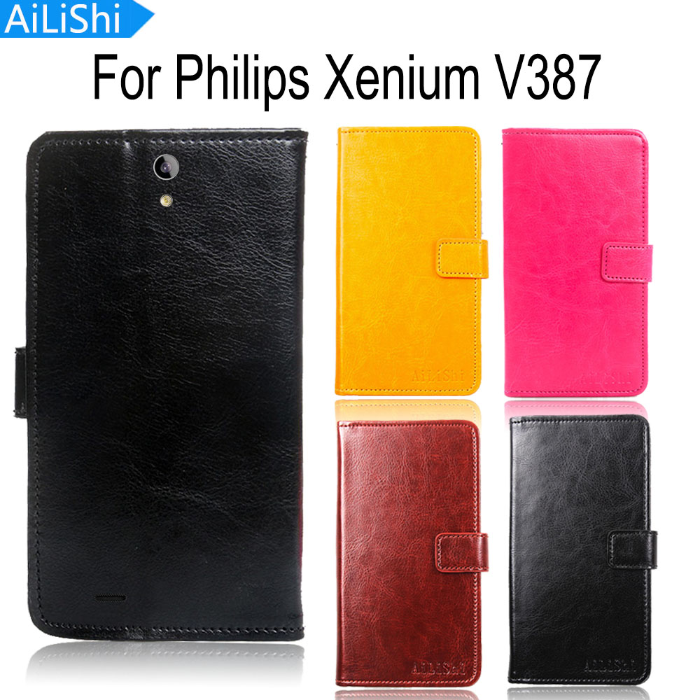 AiLiShi Leather Case For Philips Xenium V387 Case Wallet Luxury Flip Book Cover High Quality Protective Phone Bag image
